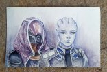 Liara and Tali - Mass Effect - Watercolor